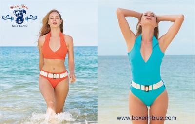 Boxer in Blue bikini, badpak, resortwear